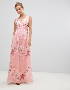 photo Embroidered Lace Maxi Dress by Little Mistress, color Pink - Image 1