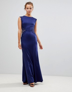 photo A-Line Bridesmaid Maxi Dress with Lace Inserts by Little Mistress, color Navy - Image 2