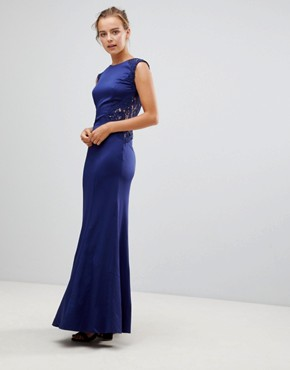photo A-Line Bridesmaid Maxi Dress with Lace Inserts by Little Mistress, color Navy - Image 4