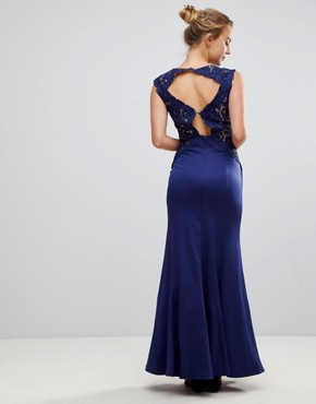 photo A-Line Bridesmaid Maxi Dress with Lace Inserts by Little Mistress, color Navy - Image 1