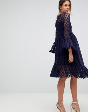 photo Dotty Tulle Mesh Skater Dress by Queen Bee, color Navy - Image 2
