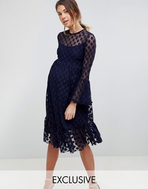 photo Dotty Tulle Mesh Skater Dress by Queen Bee, color Navy - Image 1