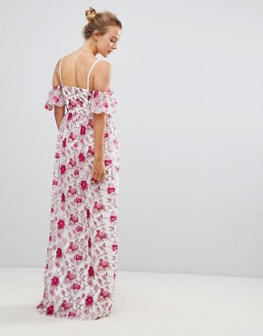 photo Printed Lace Maxi Dress by Little Mistress, color Print - Image 2