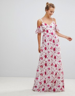photo Printed Lace Maxi Dress by Little Mistress, color Print - Image 1