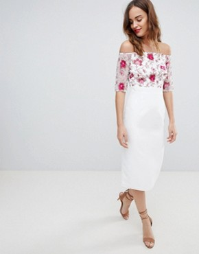 photo Half Sleeve Midi Dress with Embroidered Lace Upper by Little Mistress, color Print - Image 4