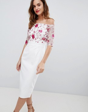 photo Half Sleeve Midi Dress with Embroidered Lace Upper by Little Mistress, color Print - Image 1