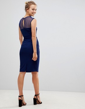 photo Pencil Dress with Lace & Mesh Panel by Little Mistress, color Navy - Image 2