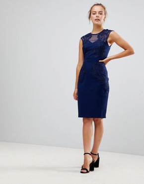 photo Pencil Dress with Lace & Mesh Panel by Little Mistress, color Navy - Image 1
