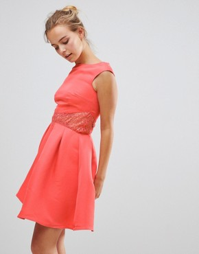 photo Fit & Flare Dress with Lace Waist by Little Mistress, color Pink - Image 1