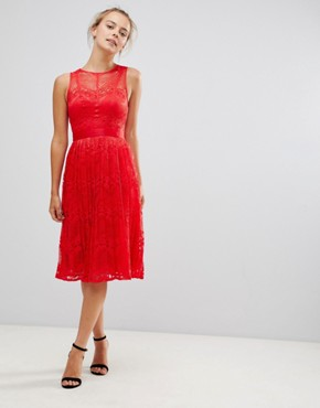 photo Lace Bridesmaid Midi Dress by Little Mistress, color Red - Image 1