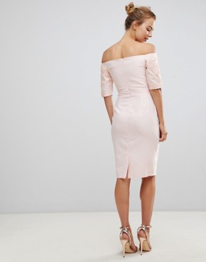 photo Pencil Dress with Lace Sleeves by Little Mistress, color Light Pink - Image 2