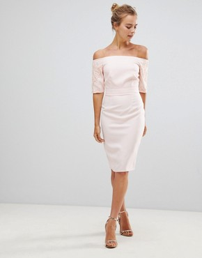 photo Pencil Dress with Lace Sleeves by Little Mistress, color Light Pink - Image 1