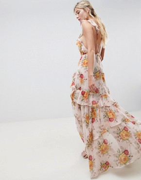 photo Ruffle Maxi Dress in Rose Floral Print by ASOS DESIGN, color Floral Print - Image 2
