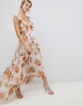 photo Ruffle Maxi Dress in Rose Floral Print by ASOS DESIGN, color Floral Print - Image 1