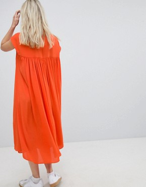 photo Long Floaty Dress by Weekday, color Orange - Image 2