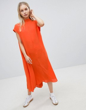 photo Long Floaty Dress by Weekday, color Orange - Image 1