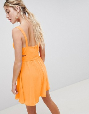 photo Cut Out Mini Dress with Cami Straps by ASOS DESIGN, color Bright Orange - Image 2