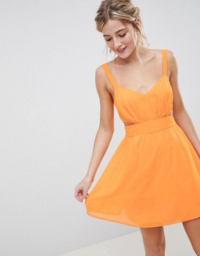 photo Cut Out Mini Dress with Cami Straps by ASOS DESIGN, color Bright Orange - Image 1