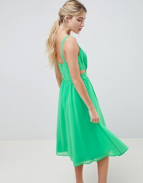 photo Cut Out Midi Dress with Cami Straps by ASOS DESIGN, color Bright Green - Image 2