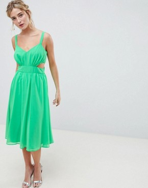 photo Cut Out Midi Dress with Cami Straps by ASOS DESIGN, color Bright Green - Image 1