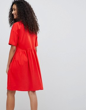 photo Button Front Short Sleeve Smock Dress by ASOS DESIGN, color Red - Image 2