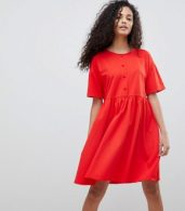 photo Button Front Short Sleeve Smock Dress by ASOS DESIGN, color Red - Image 1