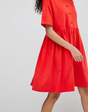 photo Button Front Short Sleeve Smock Dress by ASOS DESIGN, color Red - Image 3