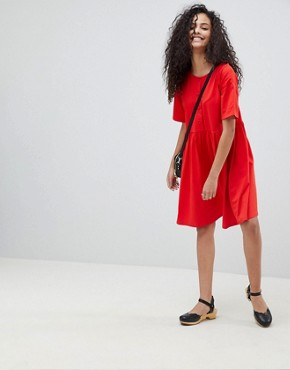 photo Button Front Short Sleeve Smock Dress by ASOS DESIGN, color Red - Image 4