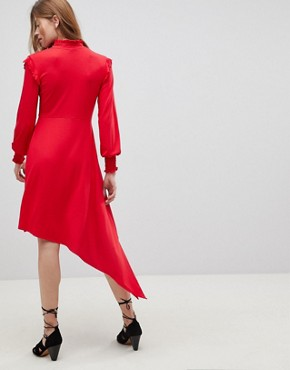 photo Shirred Cuff Button Tea Dress with Asymmetric Hem by ASOS, color Red - Image 2