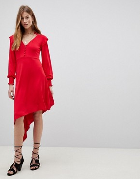 photo Shirred Cuff Button Tea Dress with Asymmetric Hem by ASOS, color Red - Image 1