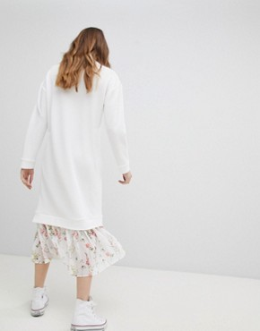 photo Midi Dress with 2 in 1 Floral Mesh Hem by ASOS DESIGN, color White - Image 2