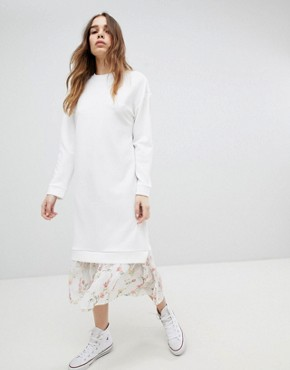 photo Midi Dress with 2 in 1 Floral Mesh Hem by ASOS DESIGN, color White - Image 1