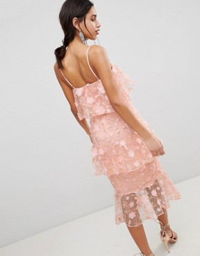 photo Tiered Pencil Midi Dress in 3D Floral Embroidery by ASOS DESIGN, color Coral - Image 2
