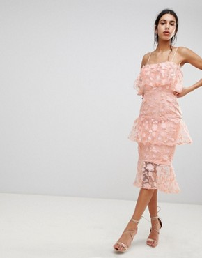 photo Tiered Pencil Midi Dress in 3D Floral Embroidery by ASOS DESIGN, color Coral - Image 1