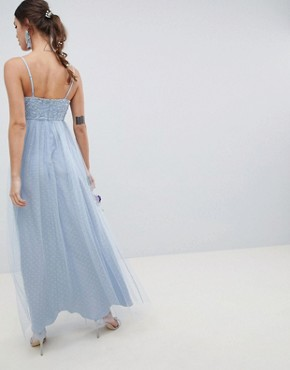 photo Bridesmaid Lace and Dobby Cami Bodice Maxi Dress by ASOS DESIGN, color Dusty Blue - Image 2