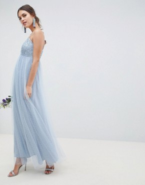 photo Bridesmaid Lace and Dobby Cami Bodice Maxi Dress by ASOS DESIGN, color Dusty Blue - Image 1