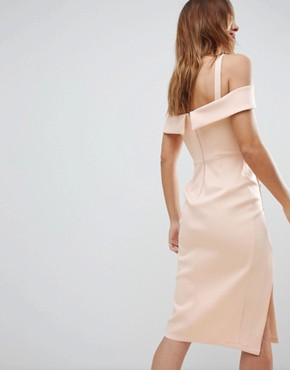 photo Tux Cold Shoulder Button Front Midi Dress by ASOS, color Blush - Image 2