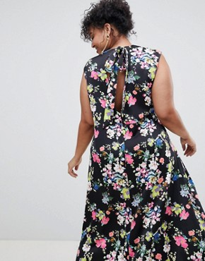 photo Drape Midi Dress in Floral Print by ASOS DESIGN Curve, color Multi - Image 2