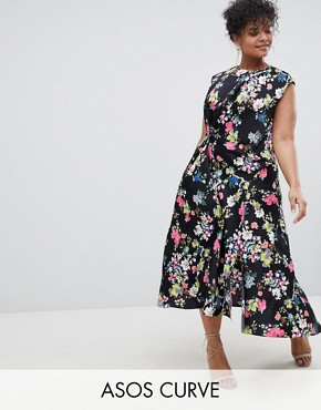 photo Drape Midi Dress in Floral Print by ASOS DESIGN Curve, color Multi - Image 1