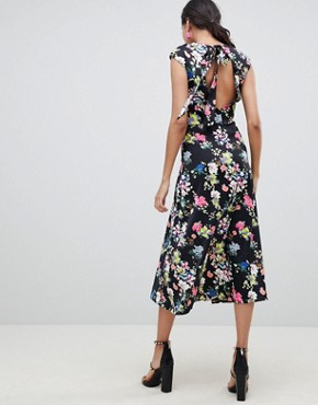 photo Drape Midi Dress in Floral Print by ASOS DESIGN Tall, color Multi - Image 2