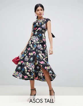 photo Drape Midi Dress in Floral Print by ASOS DESIGN Tall, color Multi - Image 1