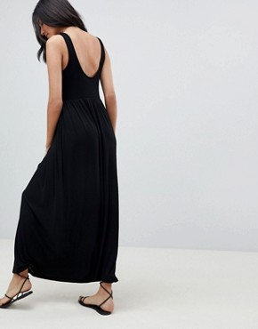 photo Mixed Fabric Strappy Maxi Dress by ASOS DESIGN Tall, color Black - Image 2