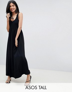 photo Mixed Fabric Strappy Maxi Dress by ASOS DESIGN Tall, color Black - Image 1
