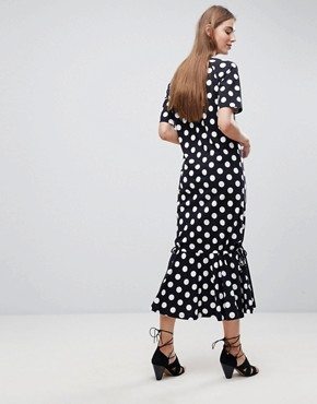photo Drop Hem Maxi Dress in Polka Dot by ASOS TALL, color Multi - Image 2