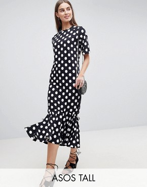 photo Drop Hem Maxi Dress in Polka Dot by ASOS TALL, color Multi - Image 1