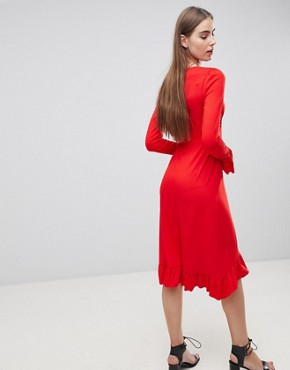 photo Midi Tea Dress with Frill Cuff by ASOS TALL, color Red - Image 2