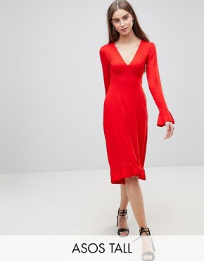 photo Midi Tea Dress with Frill Cuff by ASOS TALL, color Red - Image 1