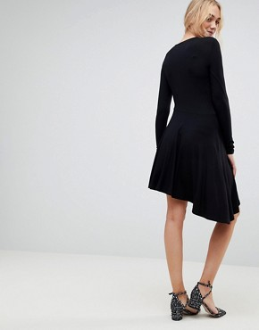 photo Mini Swing Dress with Asymmetric Hem by ASOS TALL, color Black - Image 2