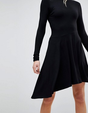 photo Mini Swing Dress with Asymmetric Hem by ASOS TALL, color Black - Image 3