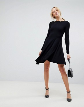 photo Mini Swing Dress with Asymmetric Hem by ASOS TALL, color Black - Image 4